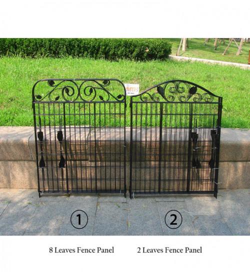 MTB Black Coated Steel Decorative Garden Fence Panel 2 Leaves, 44 x 36-inch (Pkg of 4, Linear Length 12 feet) Metal Border Folding Fence