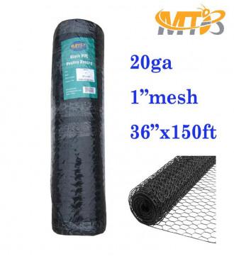"MTB PVC Hexagonal Poultry Netting Chicken Wire 36"" x150' x 1"" Mesh 20GA Black"