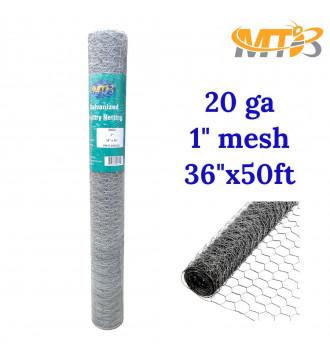 MTB 20GA Galvanized Hexagonal Poultry Netting Chicken Wire 36 inches x 50 feet x 1 inch Mesh
