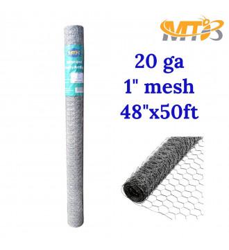 MTB 20GA Galvanized Hexagonal Poultry Netting Chicken Wire 48 inches x 50 feet x 1 inch Mesh