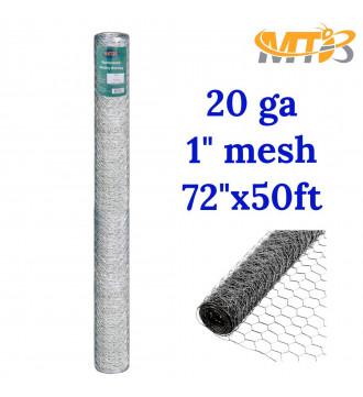 MTB 20GA Galvanized Hexagonal Poultry Netting Chicken Wire 72 inches x 50 feet x 1 inch Mesh