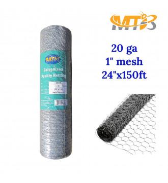 MTB 20GA Galvanized Hexagonal Poultry Netting Chicken Wire 24 inches x 150 feet x 1 inch Mesh