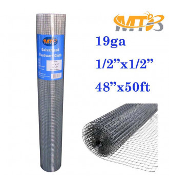 MTB Galvanized Hardware Cloth 48 Inch x 50 Foot -1/2 Inch x 1/2 Inch 19GA
