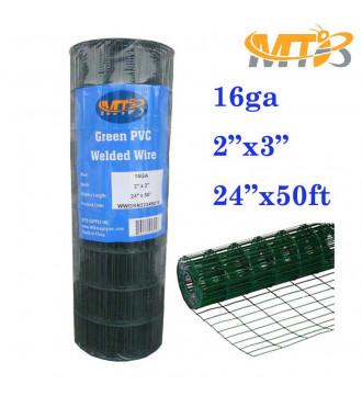 "MTB Green PVC Welded Wire Mesh Garden Economy Fence 24"" x50'- 2""x3"" 16GA"