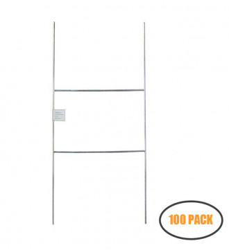 MTB H Frame Wire Stakes 20 x10-inch (Pkg of 100) 9ga Metal -Yard Sign Stakes for Advertising Board,Yard Stakes for Signs