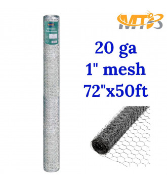 "MTB Galvanized Hexagonal Poultry Netting Chicken Wire 72"" x50' x 2"" Mesh 20GA"