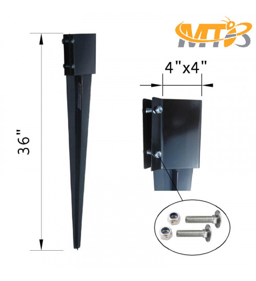 MTB Fence Post Anchor Ground Spike Metal Black Powder Coated 36 x 6 x 6 Inches Outer Diameter (Inner Diameter 5.5 x5.5 Inches), Pack of 4