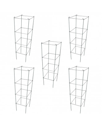 MTB Green Square Folding Tomato Cage Plant Support Tower 12 inch by 46 inch, Pack of 5 Sets