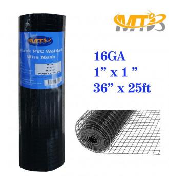 MTB Black PVC Coated Welded Wire Mesh Garden Economy Fence 36 Inch x 25 Foot-1 Inch x 1 Inch 16GA