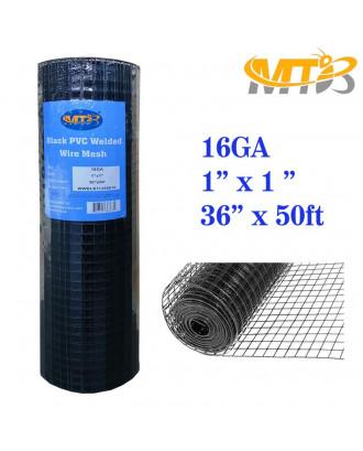 MTB Black PVC Coated Welded Wire Mesh Garden Economy Fence 36 Inch x 50 Foot-1 Inch x 1 Inch 16GA