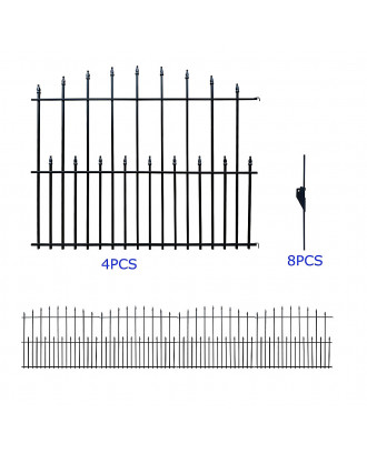 MTB Black Steel Decorative Garden Fence Panels, Metal Fence Animal Barrier 36 in H x14.1 ft Long Landscape Border Fence Arched Top…