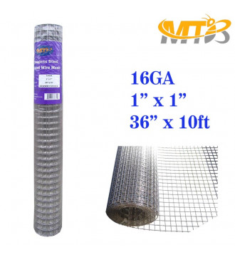MTB SS304 Stainless Steel Welded Wire Mesh 36 inches x 10 feet- 1inch x 1inch Mesh 16GA(1.6mm)