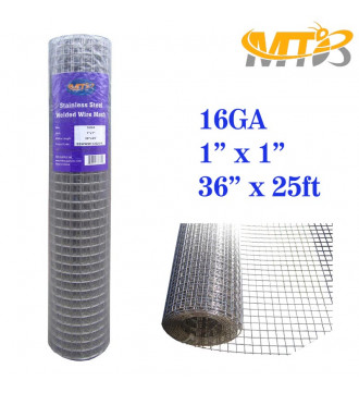 MTB SS304 Stainless Steel Welded Wire Mesh 36 inches x 25 feet- 1inch x 1inch Mesh 16GA(1.6mm)