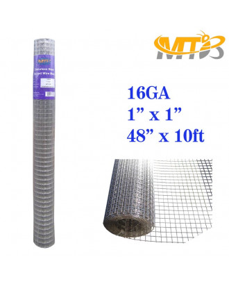 MTB SS304 Stainless Steel Welded Wire Mesh 48 inches x 10 feet- 1inch x 1inch Mesh 16GA(1.6mm)
