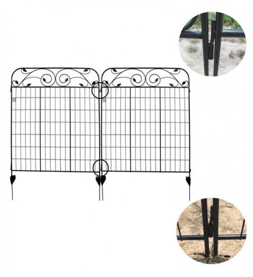 MTB Black Coated Steel Decorative Garden Fence Panel 8 Leaves, 44 x 36-inch (Pkg of 4, Linear Length 12 feet) Metal Border Folding Fence