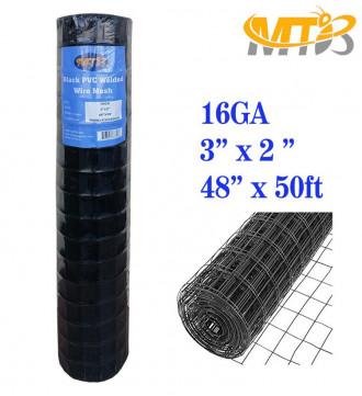 MTB Black PVC Coated Welded Wire Mesh Garden Economy Fence 48 Inch x 50 Foot-3 Inch x 2 Inch 16GA