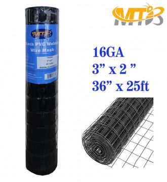 MTB Black PVC Coated Welded Wire Mesh Garden Economy Fence 36 Inch x 25 Foot-3 Inch x 2 Inch 16GA