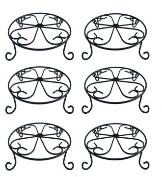 MTB Plant Stand 10 inch Black Potted Plant Stand, Flower Pot Rack Holder, 6 Pack