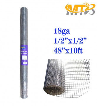 MTB SS304 Stainless Steel Welded Wire Mesh 48 inches x 10 feet- 1/2 inch x 1/2 inch Mesh 18GA(1.2mm)