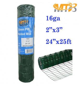 "MTB Green PVC Welded Wire Mesh Garden Economy Fence 24"" x25'- 2""x3"" 16GA"
