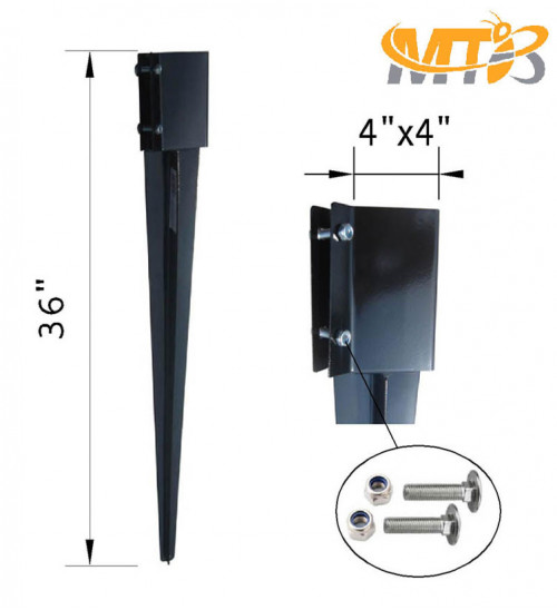 MTB Fence Post Anchor Ground Spike Metal Black Powder Coated 36 x 4 x 4 Inches Outer Diameter (Inner Diameter 3.5 x3.5 Inches), Pack of 4