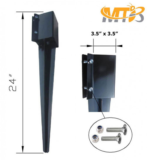 MTB Garden Fence Post Anchor Ground Spike Metal Black Powder Coated 24 x 4 x 4 Inches Outer Diameter (Inner Diameter 3.5 x3.5 Inches), Pack of 4