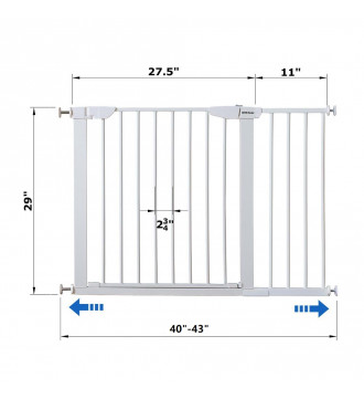 """MTB Home Walk Thru Pet Gate, 40"""" to 43"""" Extendable Wide, Includes 11-Inch Extension Kit, 4 Pack Pressure Mount Kit, 4 Pack Wall Cups and Mounting Kit, White"""