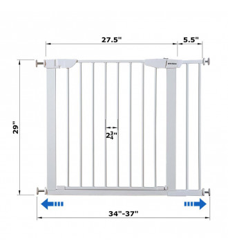 """MTB Home Walk Thru Pet Gate, 34"""" to 37"""" Extendable Wide, Includes 5.5-Inch Extension Kit, 4 Pack Pressure Mount Kit, 4 Pack Wall Cups and Mounting Kit, White"""