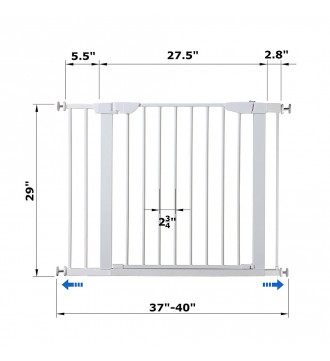 """MTB Home Walk Thru Pet Gate, 37"""" to 40"""" Extendable Wide, Includes 2.8 and 5.5-Inch Extension Kit, 4 Pack Pressure Mount Kit, 4 Pack Wall Cups and Mounting Kit, White"""