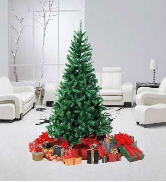 MTB 6 Feet Hinged Artificial Christmas Tree with Metal Stand, 1000 Tips Recycled PVC Plastic, Green