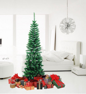 MTB 6 Feet Hinged Pencil Artificial Christmas Tree with Foldable Metal Stand, 460 Tips Recycled PVC Plastic, Green