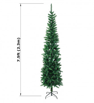 MTB 7.5 Feet Hinged Pencil Artificial Christmas Tree with Foldable Metal Stand, 600 Tips Recycled PVC Plastic, Green