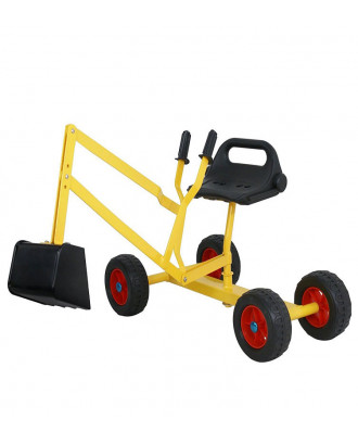 MTB 4-Wheel Metal Kid Ride-on Dig Working Crane Sand Play Digger with Scooper and Rotatable Seat