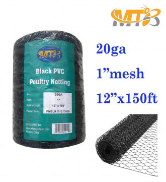 "MTB PVC Hexagonal Poultry Netting Chicken Wire 12"" x150' x 1"" Mesh 20GA Black"