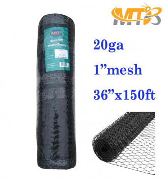 "MTB PVC Hexagonal Poultry Netting Chicken Wire 36"" x150' x 1"" Mesh 20GA Black"