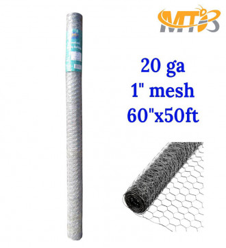 MTB 20GA Galvanized Hexagonal Poultry Netting Chicken Wire 60 inches x 50 feet x 1 inch Mesh