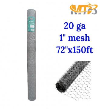 MTB 20GA Galvanized Hexagonal Poultry Netting Chicken Wire 72 inches x 150 feet x 1 inch Mesh