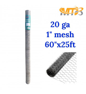 MTB 20GA Galvanized Hexagonal Poultry Netting Chicken Wire 60 inches x 25 feet x 1 inch Mesh