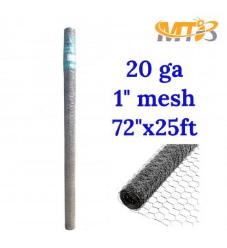 MTB 20GA Galvanized Hexagonal Poultry Netting Chicken Wire 72 inches x 25 feet x 1 inch Mesh