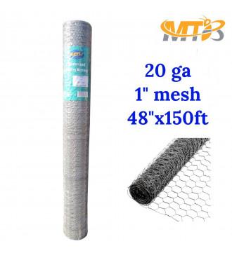 MTB 20GA Galvanized Hexagonal Poultry Netting Chicken Wire 48 inches x 150 feet x 1 inch Mesh