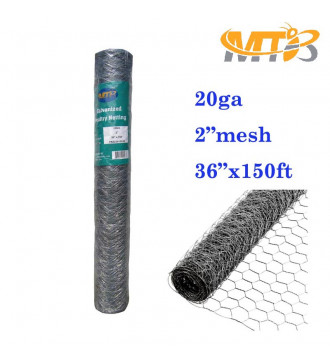 MTB 20GA Galvanized Hexagonal Poultry Netting Chicken Wire 36 inches x 150 feet x 2 inches Mesh