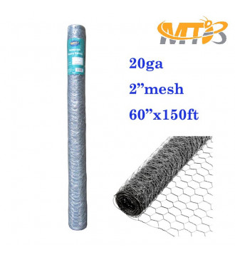MTB 20GA Galvanized Hexagonal Poultry Netting Chicken Wire 60 inches x 150 feet x 2 inches Mesh