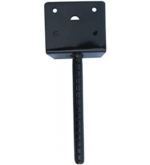 MTB U Shape Fence Post Holder Ground Spike Post Anchor Metal Black Powder Coated 6 Inches x 6 Inches Pack of 4