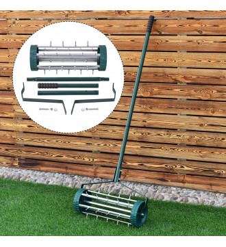 MTB Heavy Duty 18 Inch Aerator Roller Rolling Lawn Garden Spike Lawn Aerator Home Grass Steel Handle Green Quick and Easy to Assemble