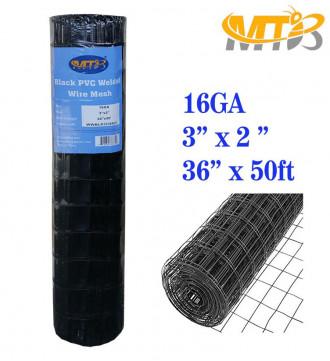 MTB Black PVC Coated Welded Wire Mesh Garden Economy Fence 36 Inch x 50 Foot-3 Inch x 2 Inch 16GA