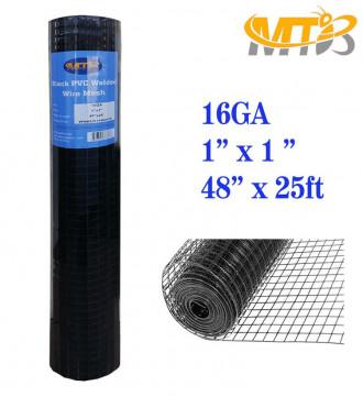 MTB Black PVC Coated Welded Wire Mesh Garden Economy Fence 48 Inch x 25 Foot-1 Inch x 1 Inch 16GA