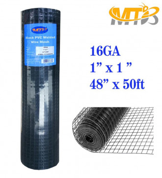 MTB Black PVC Coated Welded Wire Mesh Garden Economy Fence 48 Inch x 50 Foot-1 Inch x 1 Inch 16GA