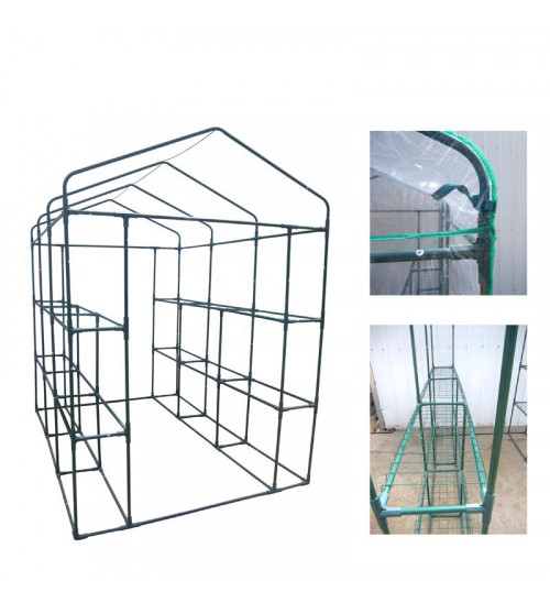 MTB Outdoor Portable Walk-in Garden Greenhouse Replacement PVC Cover for Greenhouse with 2 Tiers 12 Shelves for Frame Size 84x56x77inch