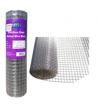 MTB SS304 Stainless Steel Welded Wire Mesh 24 inches x 25 feet- 1inch x 1inch Mesh 18GA(1.2mm)
