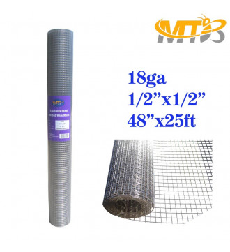 MTB SS304 Stainless Steel Welded Wire Mesh 48 inches x 25 feet- 1/2 inch x 1/2 inch Mesh 18GA(1.2mm)